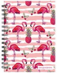 Фламинго. Ежедневник недатированный (А5, 120 листов, золотая евроспираль, УФ-лак на обложке)